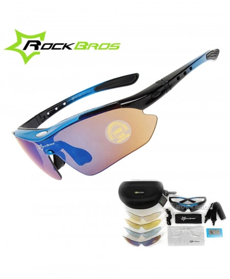 RockBros Blue Polarized Cycling TR90 Goggles 5 Lens Sunglasses