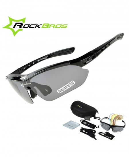 RockBros Black Polarized Cycling TR90 Goggles 5 Lens Sunglasses