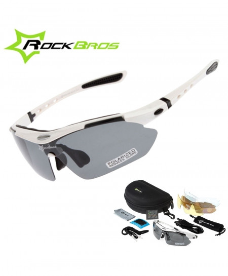 RockBros White Polarized Cycling TR90 Goggles 5 Lens Sunglasses