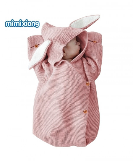 Buy Pink Adorable Rabbit Knitted Swaddle Wrap Sleeping Bag Online In