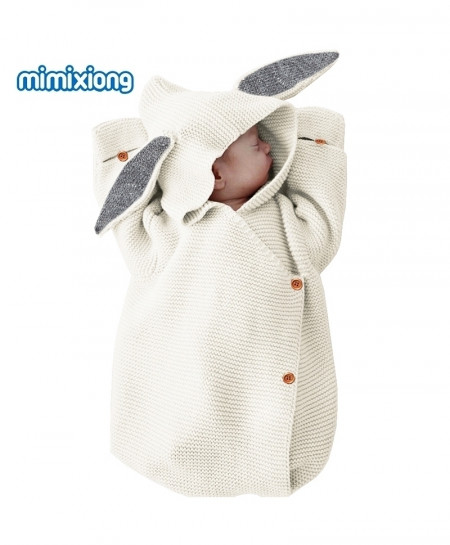 Dark Grey Adorable Rabbit Knitted Swaddle Wrap Sleeping Bag