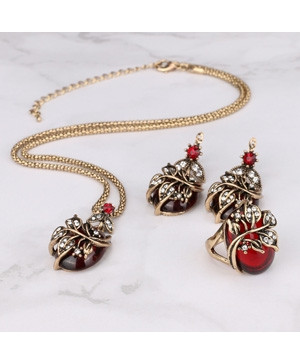 Kinel Red Oval Crystal Flower Jewelry Sets