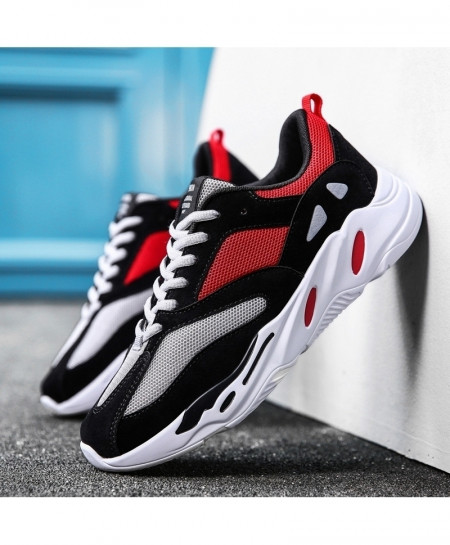 Red Black Mesh Light Breathable Sport Shoes