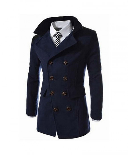 Black Long Turn-down Collar Wool Blend Double Breasted Pea Coat Wool Jacket