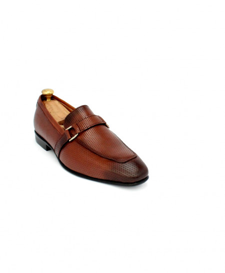 Corio Brown Buckle Up Leather Shoes CSR-JC-196