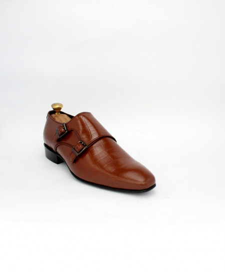 Corio Brown Leather Double Monk Shoes CSR-JC-198