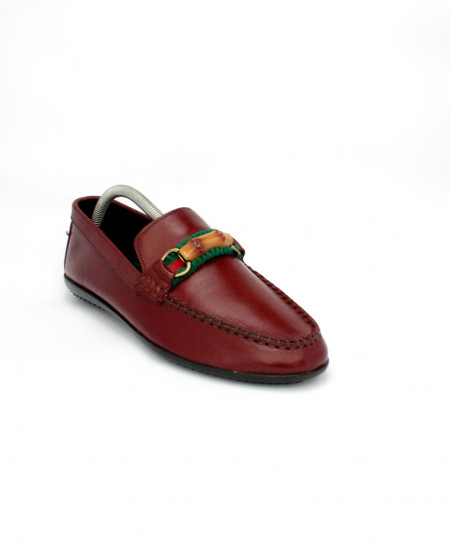 Corio Burgundy Leather Driving Loafer Shoes CSR-DM-02