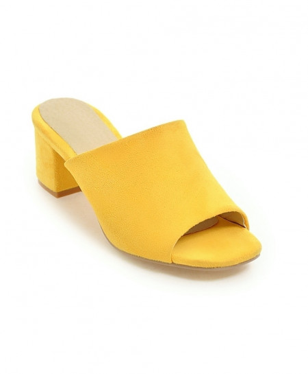 NEMAONE Yellow Thick High heels Sandals