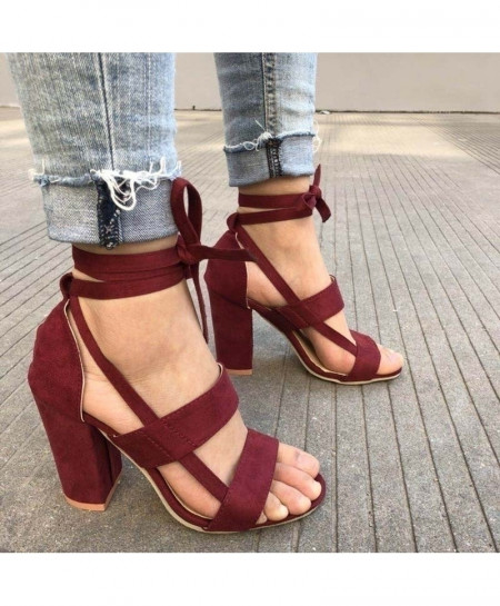 MCCKLE Wine Red Ankle Strap High Heels Flock Gladiator Pumps Shoes