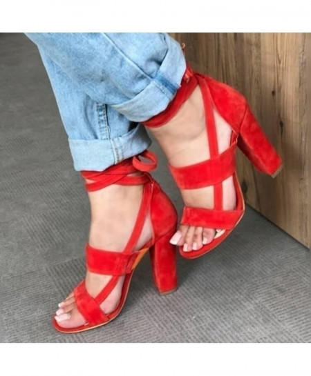 MCCKLE Red Ankle Strap High Heels Flock Gladiator Pumps Shoes