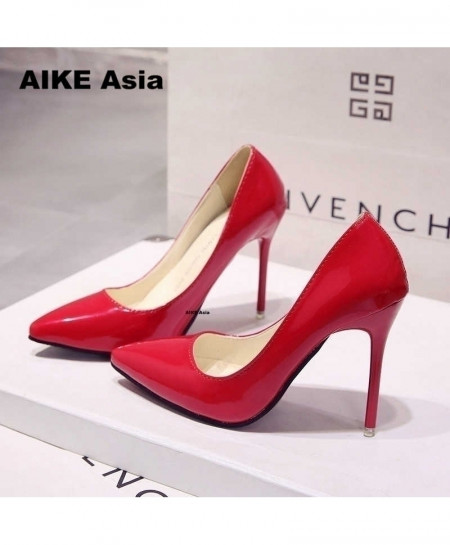 Red High Heels Pumps Thin Heel Classic Pump Shoes