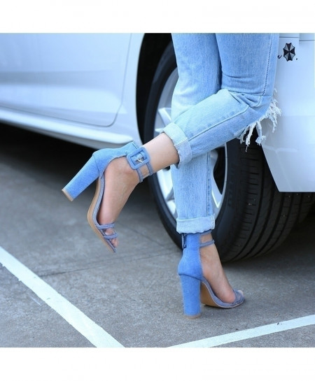 Jeans Blue Stiletto T-Stage High Heel Pump Shoes