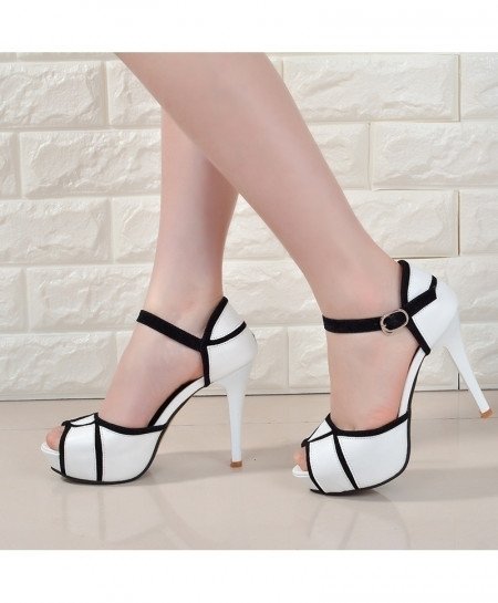 White Hollow Buckle Fish Mouth High Heels Pump Shoes