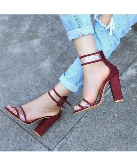 Wine Red Stiletto T-Stage High Heel Pump Shoes