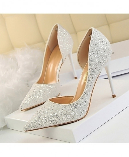 LAKESHI White Glittered Thin High Heels Pump Shoes