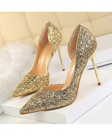 LAKESHI Golden Glittered Thin High Heels Pump Shoes