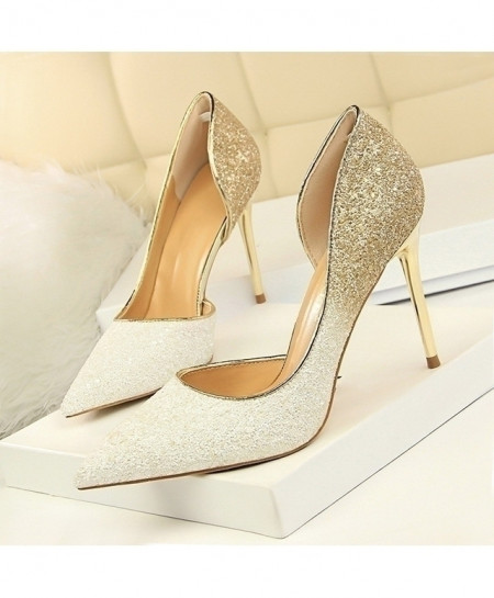 LAKESHI Gradient White Glittered Thin High Heels Pump Shoes