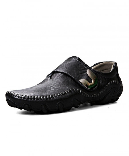 Black Driving Genuine Leather Slip-On Loafers