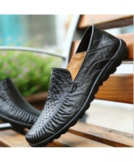 Black Breathable Comfortable Genuine Leather Slip-On Fashion Handmade Loafers