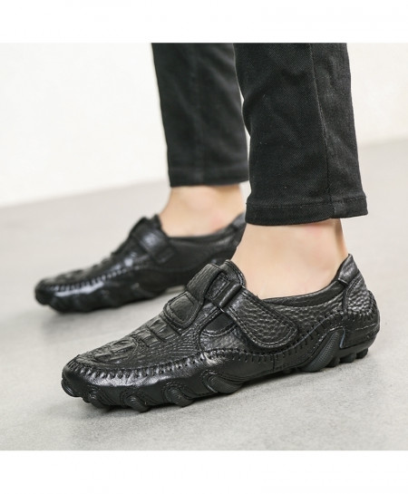 Black Moccasins Genuine Leather Rough Texture Loafers
