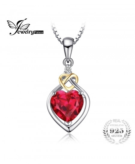 JewelryPalace Love Knot Heart Red Ruby 925 Sterling Silver 18K Pendant