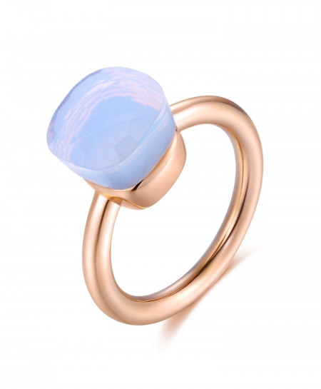 MetJakt Sky Blue Agate Stone 14K Rose Gold 925 Sterling Silver Classic Ring