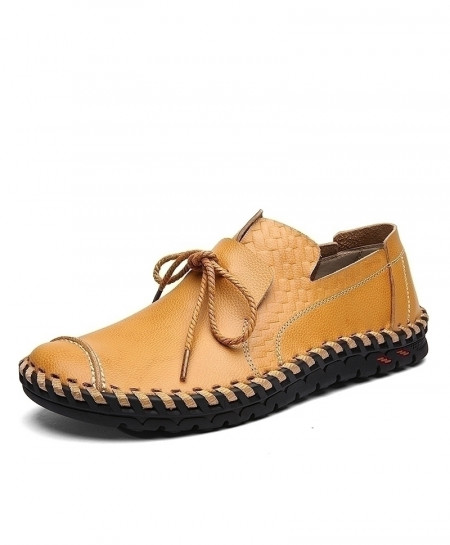 Aleader Camel Brown Genuine Leather Fashion Handmade Shoes