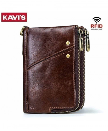 KAVIS Brown Genuine Crazy Horse Leather Wallet