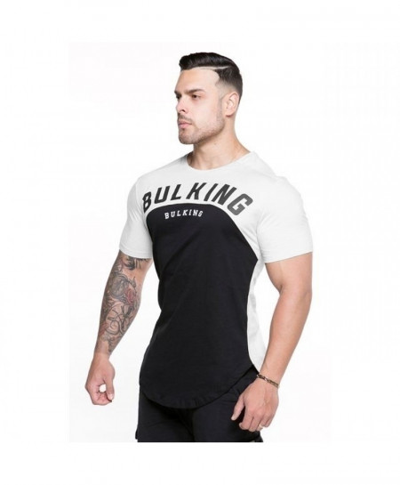 Bulking Black White Curved Hem Long Line Cotton T-Shirt