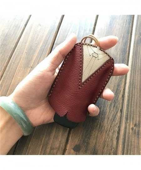Red Genuine Leather Car Keys Organizer Wallet