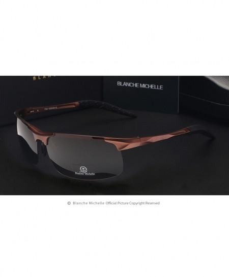 Blanche Michelle Copper Brown Ultra-Light Aluminum Magnesium Polarized Rectangle Sports Sunglasses