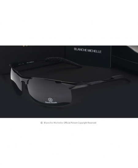 Blanche Michelle Black Ultra-Light Aluminum Magnesium Polarized Rectangle Sports Sunglasses