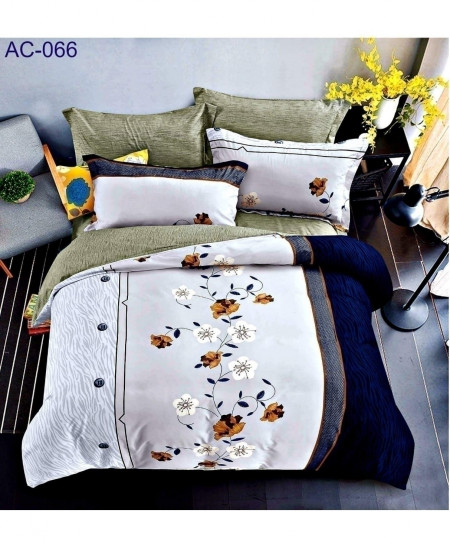 White Blue Floral Pattern Printed Bedsheet AC-066