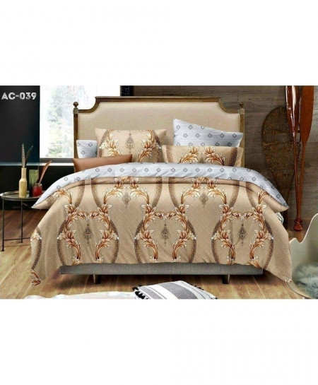 Brown Floral Pattern Printed Bedsheet AC-039