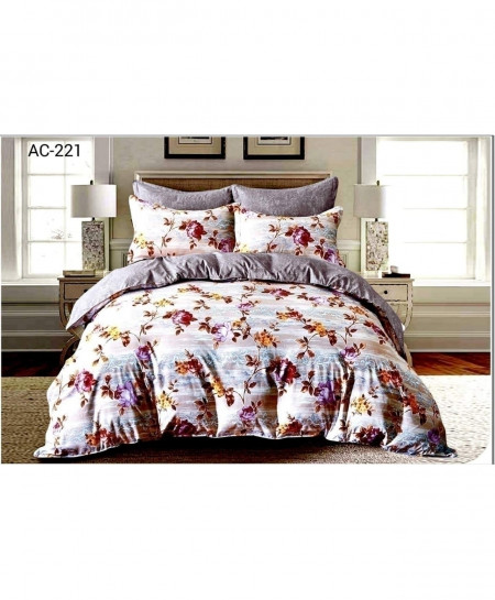 White Floral Printed Bedsheet AC-221