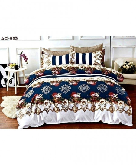 Blue White Floral Printed Bedsheet AC-053