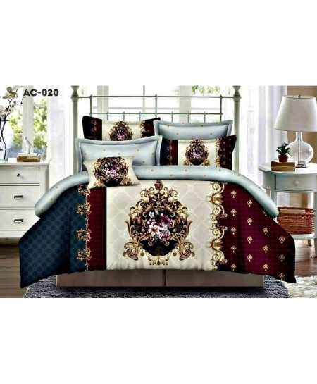 White Blue Maroon Floral Printed Bedsheet AC-020
