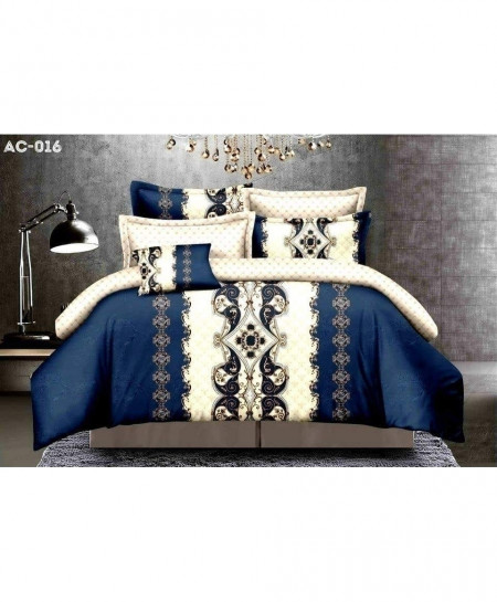 White Blue Pattern Printed Bedsheet AC-016