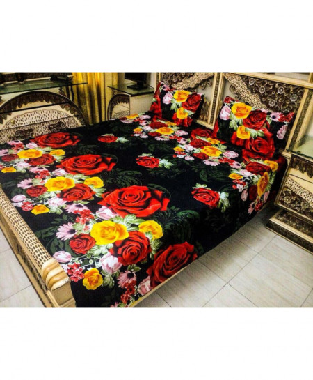 3D Black Floral Cotton Bedsheet PBS-R-01