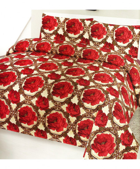 3D Beige Red Floral Cotton Bedsheet PBS-904
