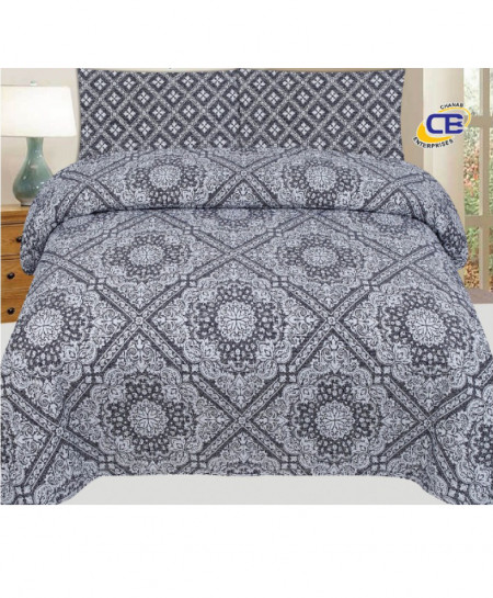 Grey Floral Cotton Bedsheet PBS-CB-09