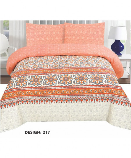 Orange Floral Cotton Bedsheet PBS-AK-217
