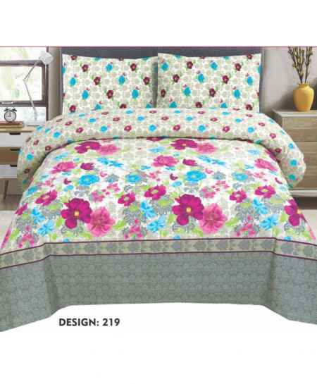 Grey MultiColor Floral Cotton Bedsheet PBS-AK-219