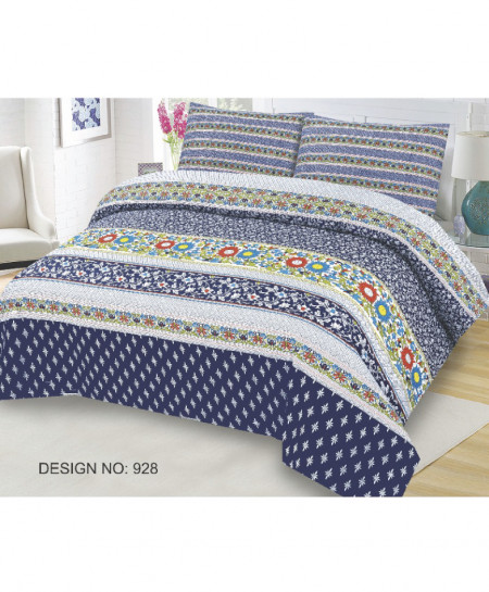 Blue Floral Cotton Bedsheet SY-928