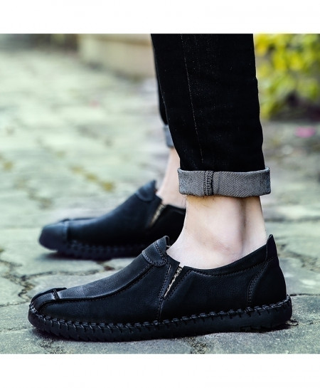 Valstone Black Leather Handmade Loafers