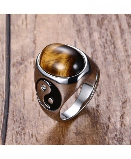 Stainless Steel Oval Tiger Eye Brown Stones Ring