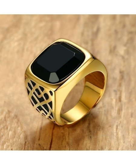 Golden Square Black Carnelian Semi-Precious Stone Signet Stainless Steel Ring