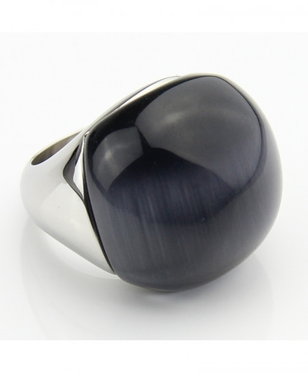 LYCOON Cat Eyes Stone Round Ball Stainless Steel Grey Rings