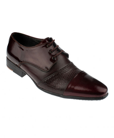 Burgundy Textured Leather Formal Shoes LC-312