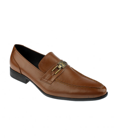 Brown Slip On Leather Formal Shoes LC-313